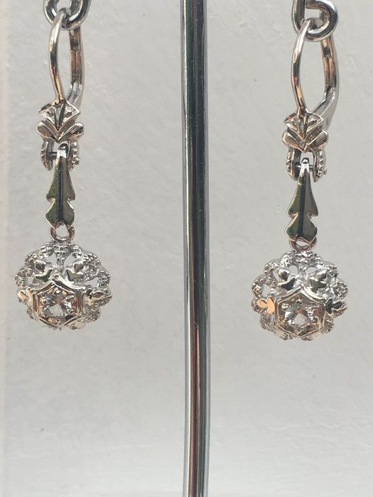18 quilates Oro blanco - Pendientes - 0.30 ct Diamante - Diamantes
