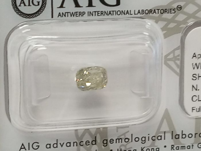 Diamant - 1.02 ct - Coussin - Fancy Grey Yellow - SI1