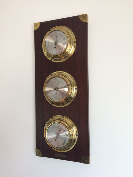 weerstation - Barometer - Hygrometer - Thermometer - messing     (1) - Hout, Messing
