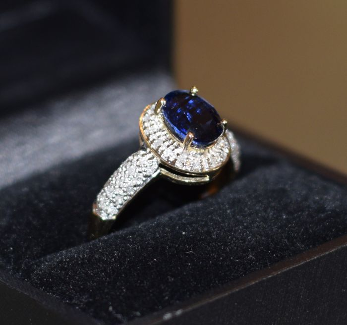14 karaat Geel goud - Ring - 1.59 ct kyanite - Diamanten