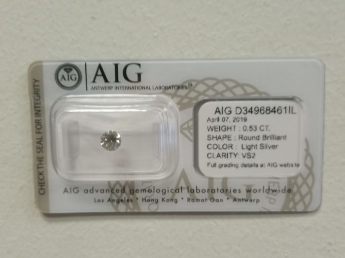Diamant - 0.53 ct - Briljant - Light Silver - VS2