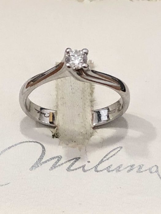 MIluna 18 carats Or blanc Bague, solitaire 0.15 ct Diamant Catawiki