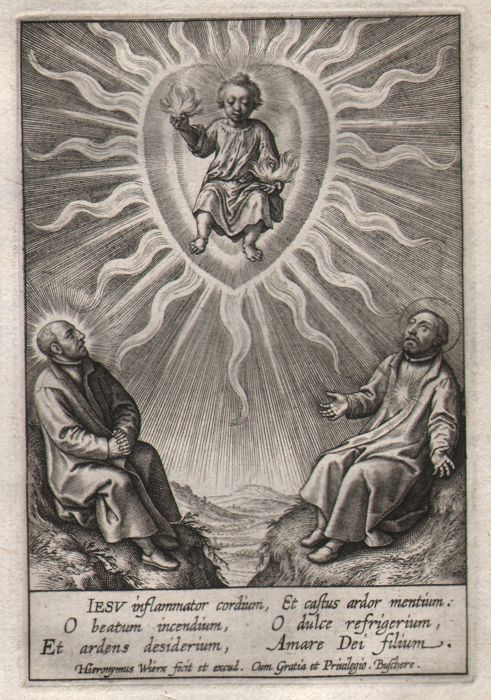 Hieronymus Wierix (1553 - 1619) - The infant with Ignatius of Loyola, Francis Xavier- First state