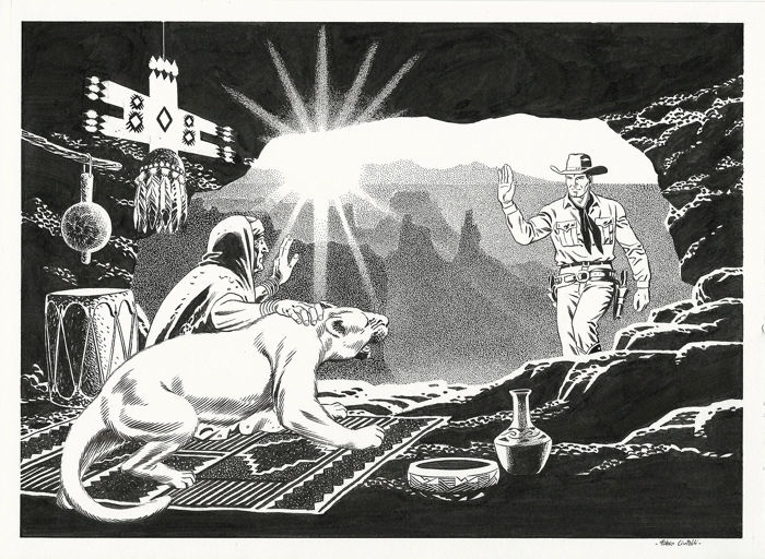 "Tex - Fabio Civitelli - illustrazione orig. ""Quella Caverna sui Monti Echo"" - First edition for sale"