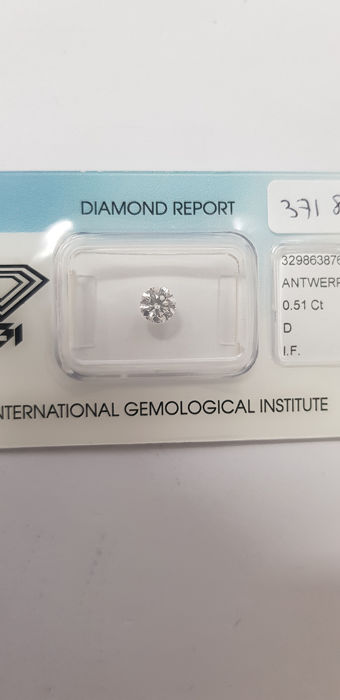 1 pcs Diamante - 0.51 ct - Brillante - D (incoloro) - IF (Inmaculado)