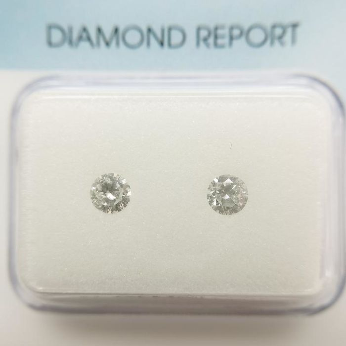 2 pcs Diamanten - 0.26 ct - Rond - G - P1