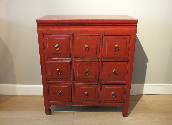 Kabinet - Hout - Red  Lacquer Apothecary Chest - China - Republieke periode (1912-1949)