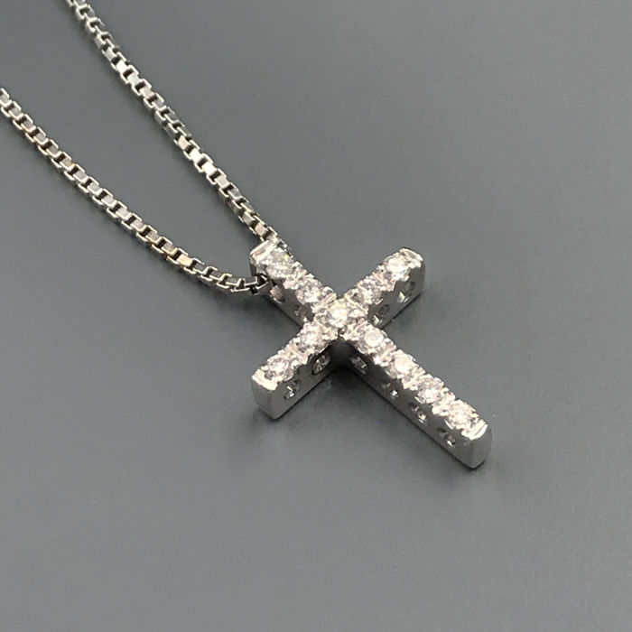 18 kt. White gold - Necklace with pendant - 0.18 ct Diamond