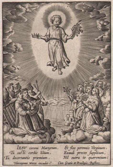 Hieronymus Wierix (1553 - 1619) - The adoration of the infant by martyrs - First state