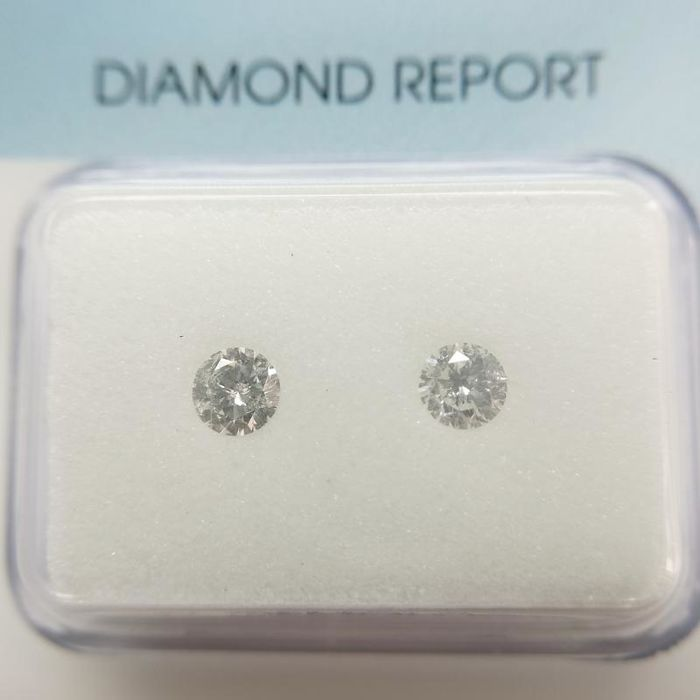2 pcs Diamanten - 0.29 ct - Rond - f-g - P1