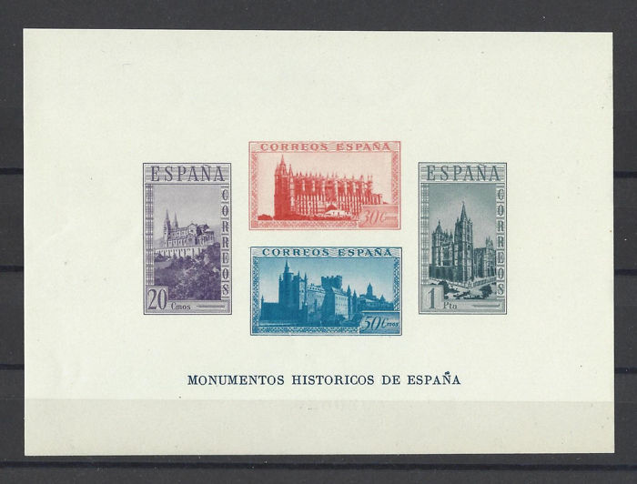 Spanje 1938 - Historical monuments imperforated miniature sheet - Edifil 848