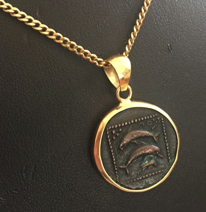 """18 kt. 14 kt Yellow gold, Yellow gold - Necklace with pendant """"antique"""" coin"""