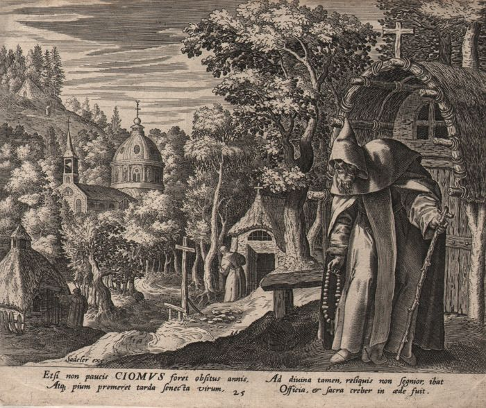 Jan Sadeler I (1550 - 1600 ) - St Ciomus before his cabin.