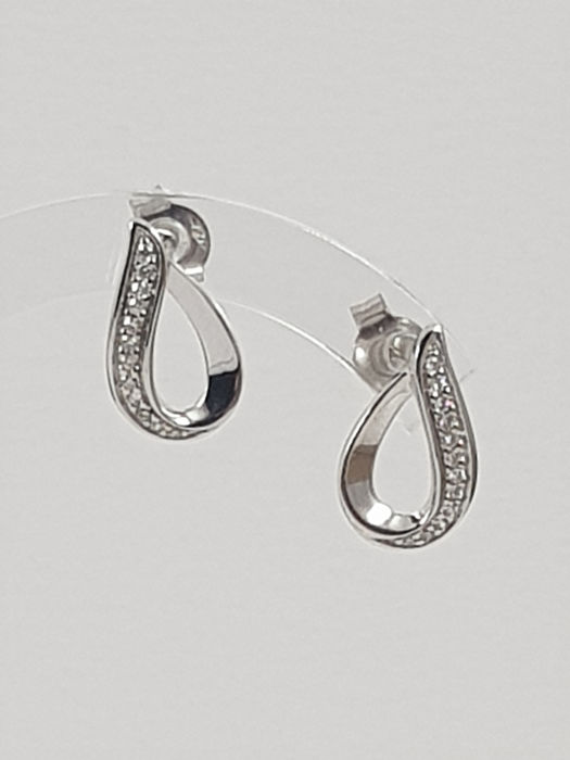 Comete - 18 kt. White gold - Earrings - 0.12 ct Diamond