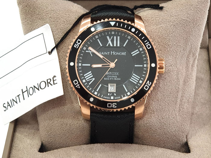 """Saint Honorè -  """" NO RESERVE PRICE """" ARTCODE DIVING  - 8610708NRBN - Swiss Made - IP Rose Gold - Black Dial - Heren - 2011-heden"""