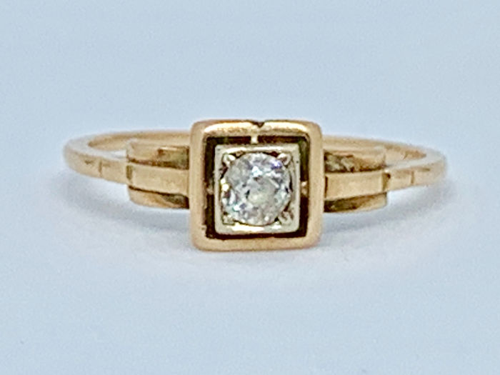 9k Rose gold Geel goud - Ring - 0.30 ct Diamant