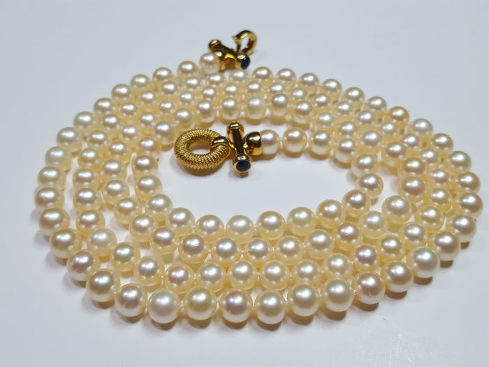 18 quilates 6,60-6,88 mm, Oro amarillo, Perlas Akoya - Collar Zafiro