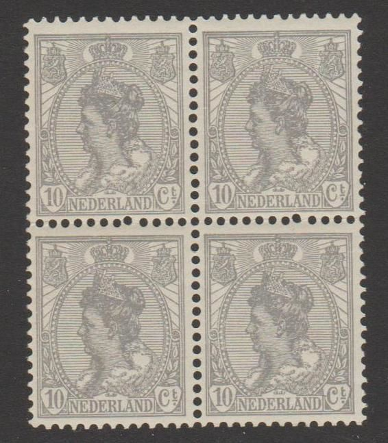 Países Bajos 1922 - Queen Wilhelmina 'fur collar' in block of 4 - NVPH 81