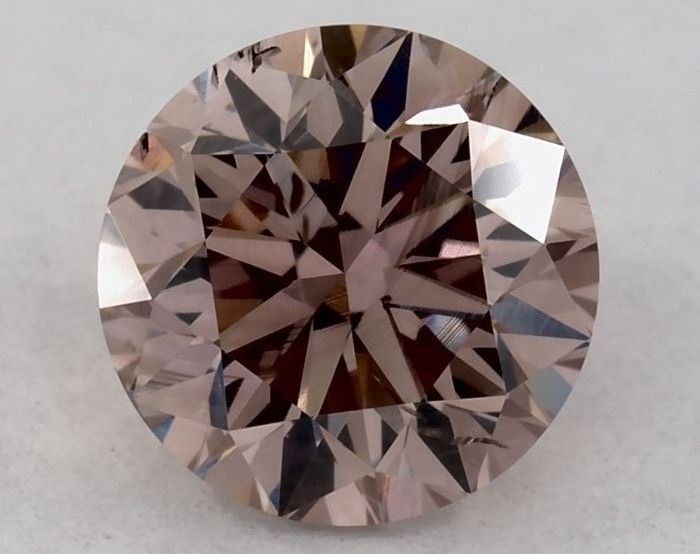 1 pcs Diamond - 0.41 ct - Round - fancy pinkish brown - SI1