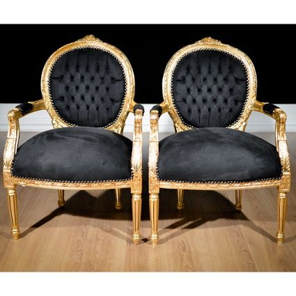 Armchair, Pair of Armchairs - Black and Gold - Louis XVI Style