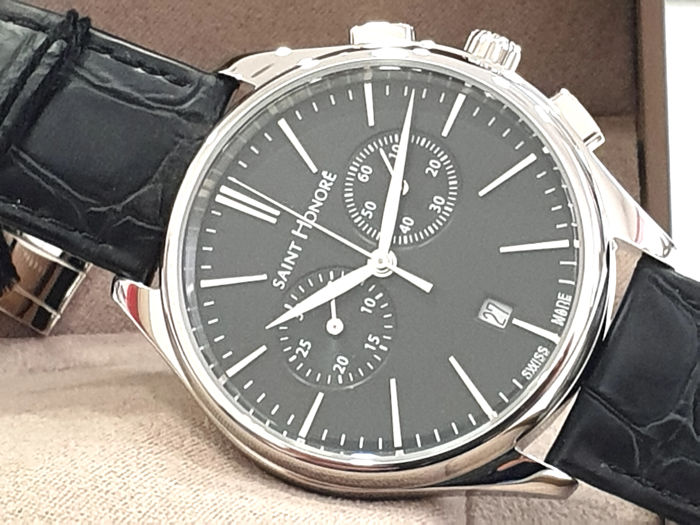 """Saint Honorè - """" NO RESERVE PRICE """" MONCEAU - Black Dial - Genuine Leather - 8850171NIN - Swiss Made  - Heren - 2011-heden"""