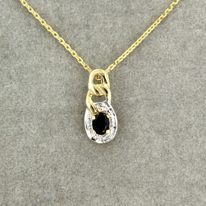 14 kt. White gold, Yellow gold - Necklace with pendant - 0.30 ct Sapphire - Diamond