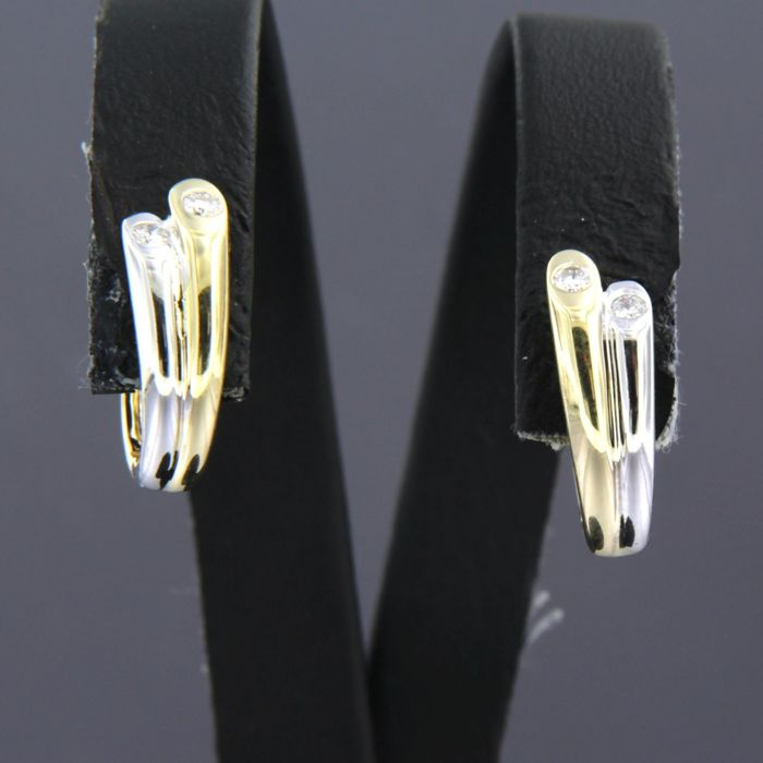 14 quilates Oro blanco - Pendientes - 0.12 ct Diamante
