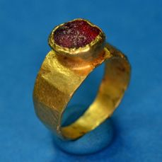 Ancient Roman Gold Ring with Red Intaglio Stone