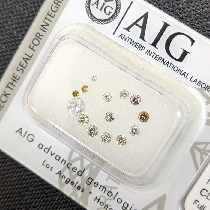 14 pcs Diamanten - 0.50 ct - Brillant - Fancy Mix Colors - I1, No Reserve Price, SI1, SI2, SI3, VS1, VS2, VVS1, VVS2