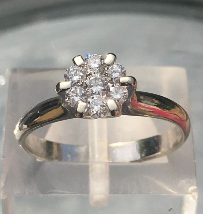 18 karaat Witgoud - Ring Diamant - Diamanten