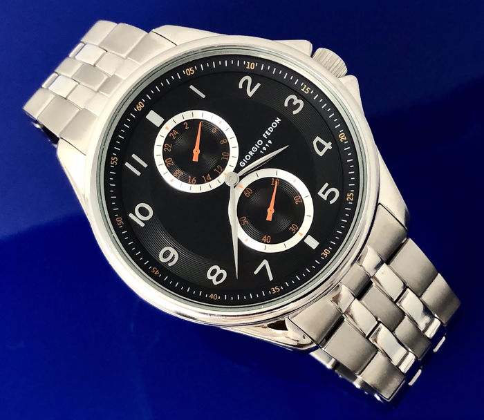 """Giorgio Fedon 1919 - Vintage I Black Dial Stainless Steel strap  - GFAH005 """"NO RESERVE PRICE"""" - Heren - BRAND NEW"""