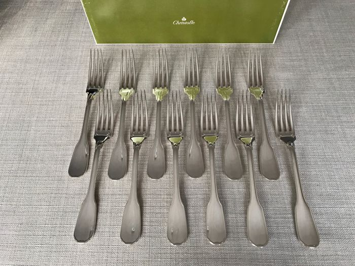 Forks for dinner (12) - Silver plated - Christofle modèle Versailles  - France - Second half 20th century