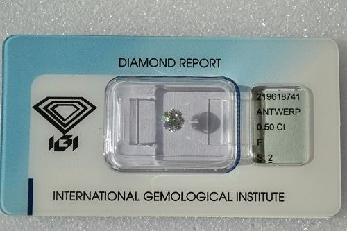 Diamante - 0.50 ct - Brillante - F - SI2