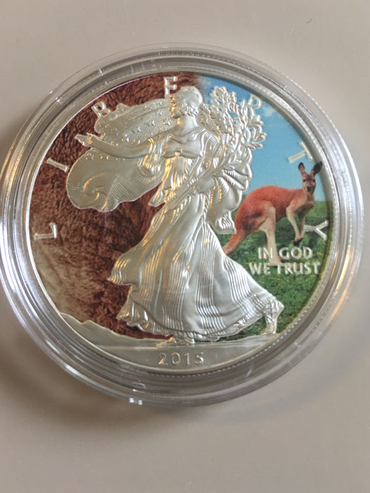 Stati Uniti - 1 Dollar 2015 Silver Eagle 'Animals Red Kangaroo' colorized - 1 oz - Argento