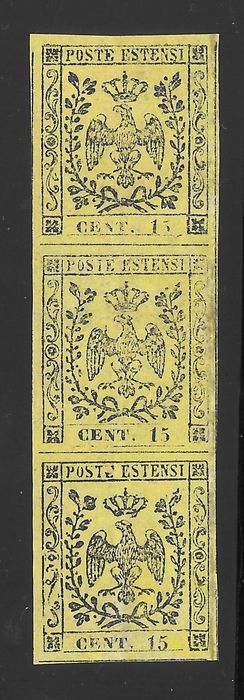 Modena 1852 - 15 cents yellow without dot after the figure, vertical strip of three - Sassone N. 3