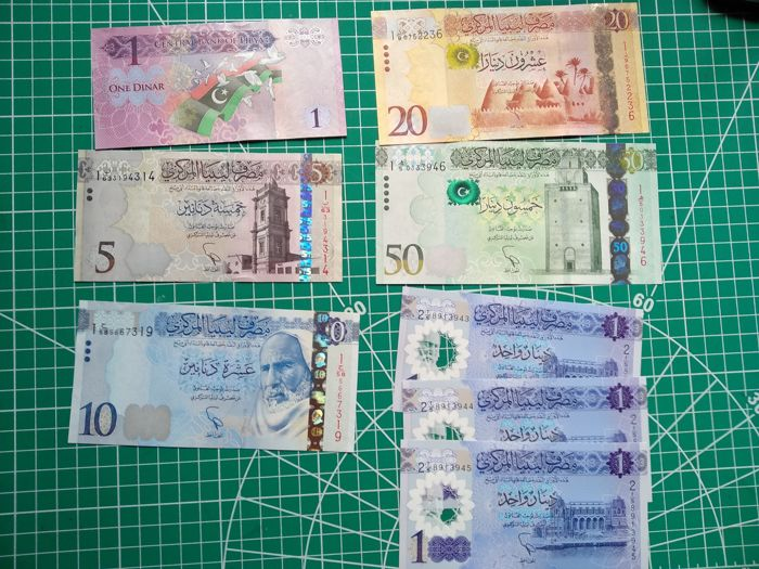 Libia - 1, 1, 1, 1, 5, 10, 20 and 50 Dinars ND (2015) - Pick 81, 82, 83, 84 and new (3)