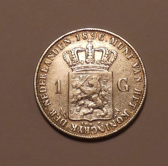 The Netherlands - 1 Gulden 1896 Wilhelmina - Silver