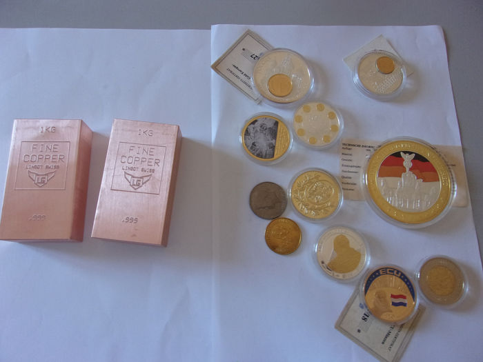 2 kilos cuivre suisse 999/1000 & a lot of coins  - Cobre, Oro