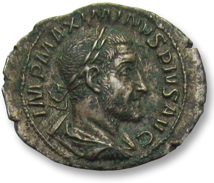 Roman Empire - AR Denarius, Maximinus I Thrax, Rome 235 A.D. - emperor & standards, uncleaned but sharply struck - Silver