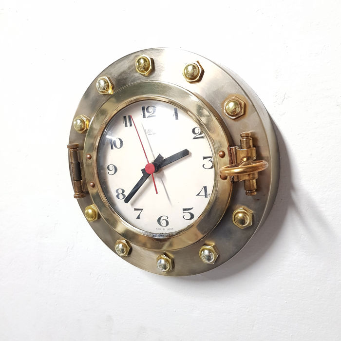 Landex - Maritime Ships Clock - Glas, Messing, Staal (roestvrij)