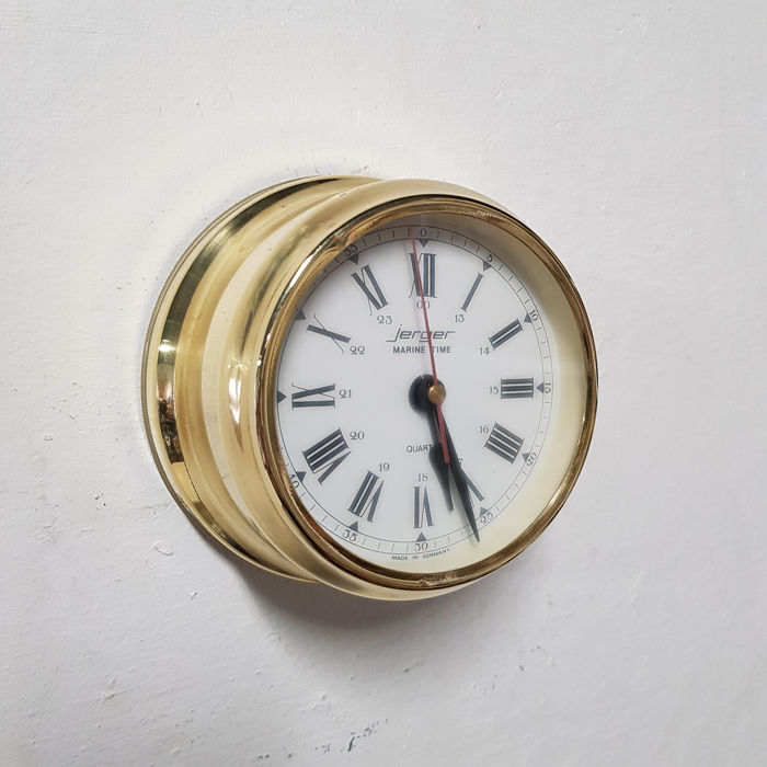 JERGER - Ship's Clock - Glas, Messing