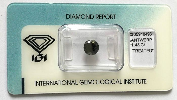 1 pcs Diamante - 1.43 ct - Brillante - Color tratado - Black