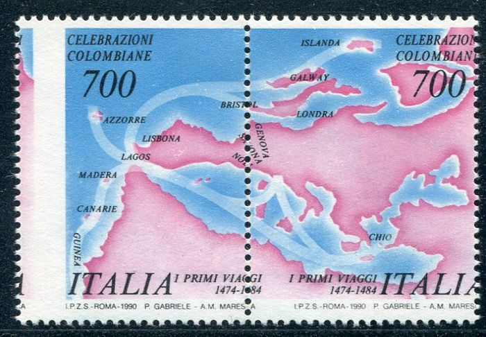 Italy 1990 - Colombo Rosa natural stamp Bolaffi - Bolaffi 1863A+ 1864A