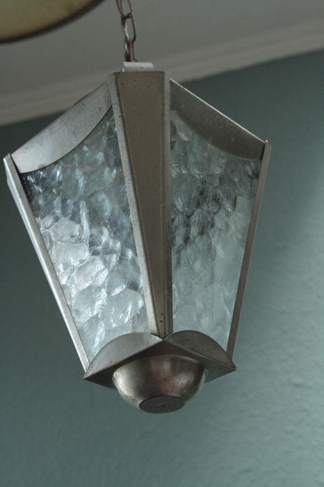Old Amsterdam School hallway lamp - metal frosted glass