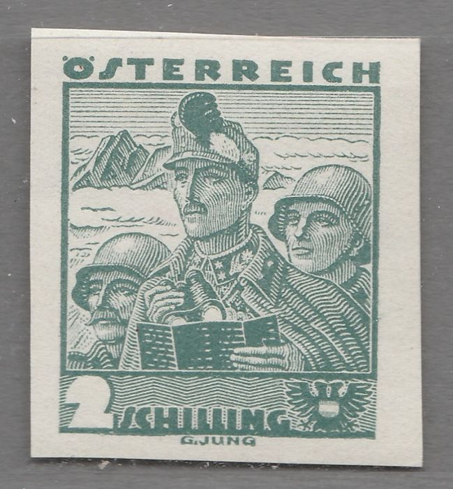 Oostenrijk 1934 - Traditional costumes 2 s, grey-green, imperforate - ANK 584U