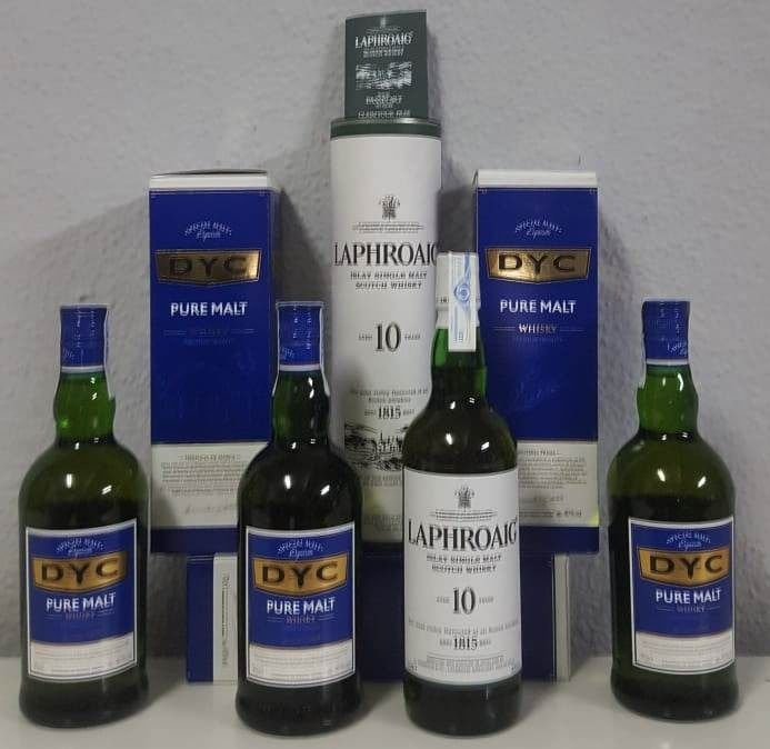 Laphroaig 10 years old & DYC Pure Malt - 70cl - 4 garrafas