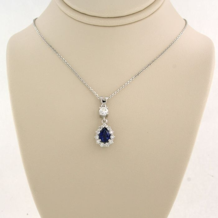 14 kt. White gold - Necklace with pendant - 0.48 ct Diamond - Sapphire