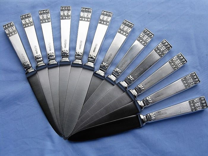 Fruit or dessert knives (12) - .800 silver - Italy - 1950/70