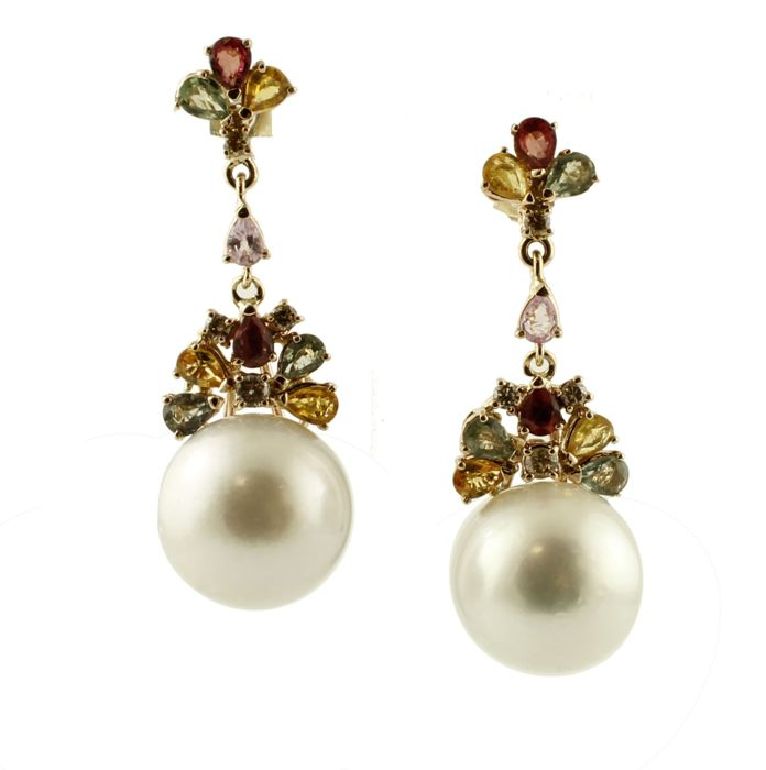 14 kt. Yellow gold - Earrings - Diamonds, Pearls, Sapphires