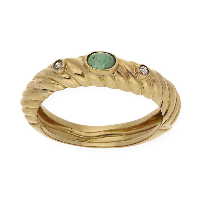 18 kt. Yellow gold - Ring - 0.20 ct Emerald - Diamond for sale  London